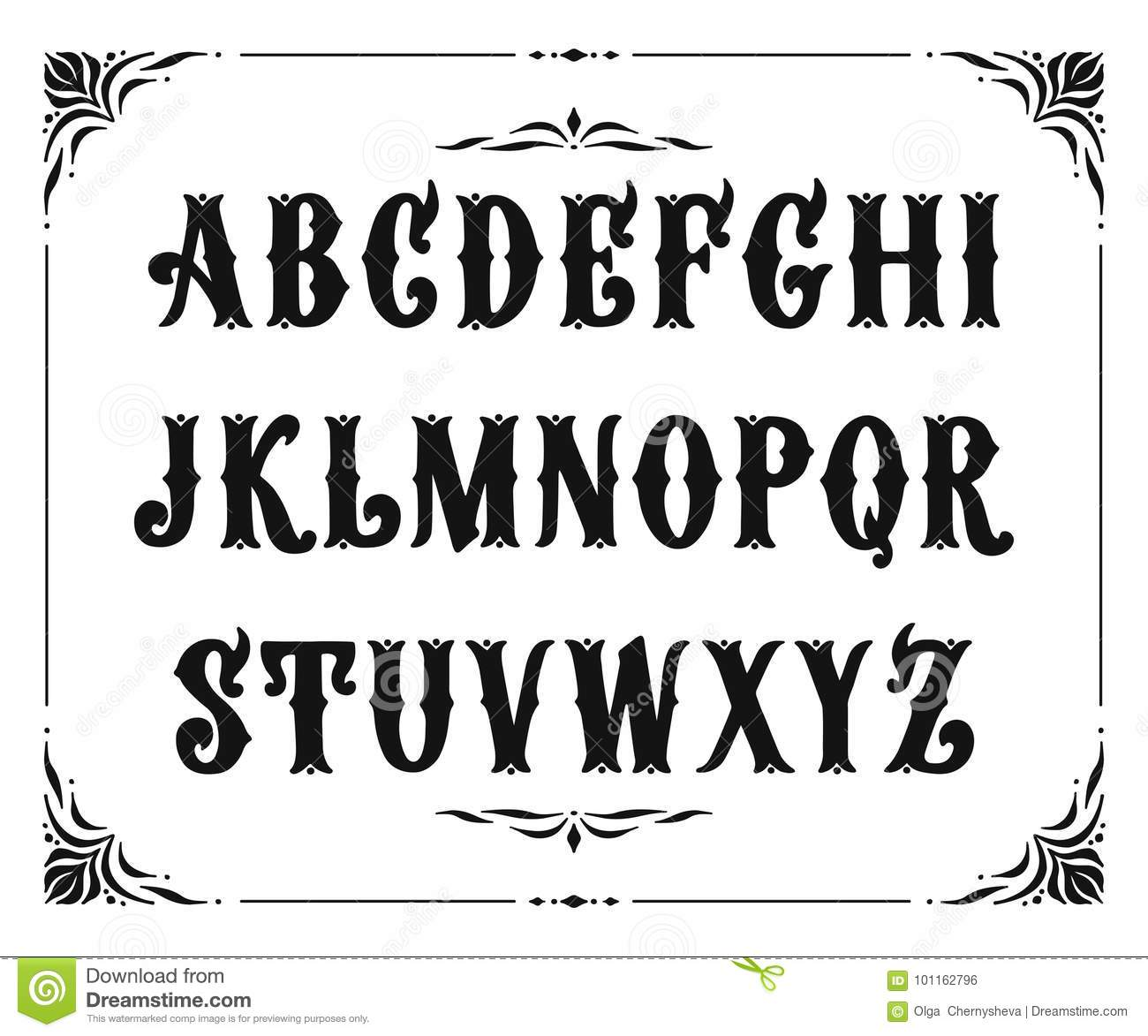 Calligraphy Fonts Victorian Handcrafted Letters With Victorian Decor Stock Vector