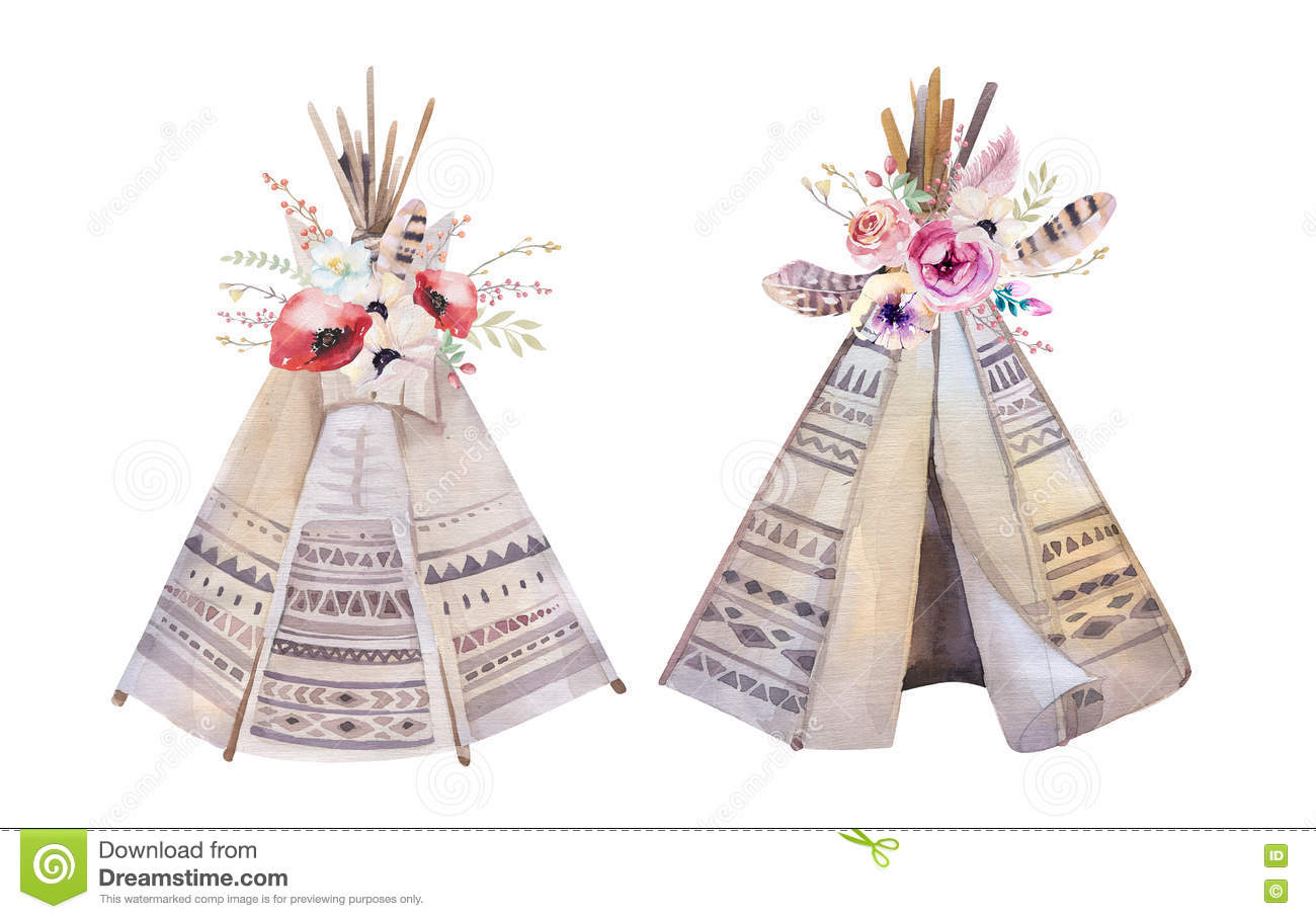 Watercolor Wallpaper Backgrounds Quote Handdrawn Watercolor Tribal Teepee White With Quote Tent