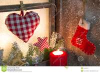 Handmade Christmas Wooden Window Decoration With Heart And
