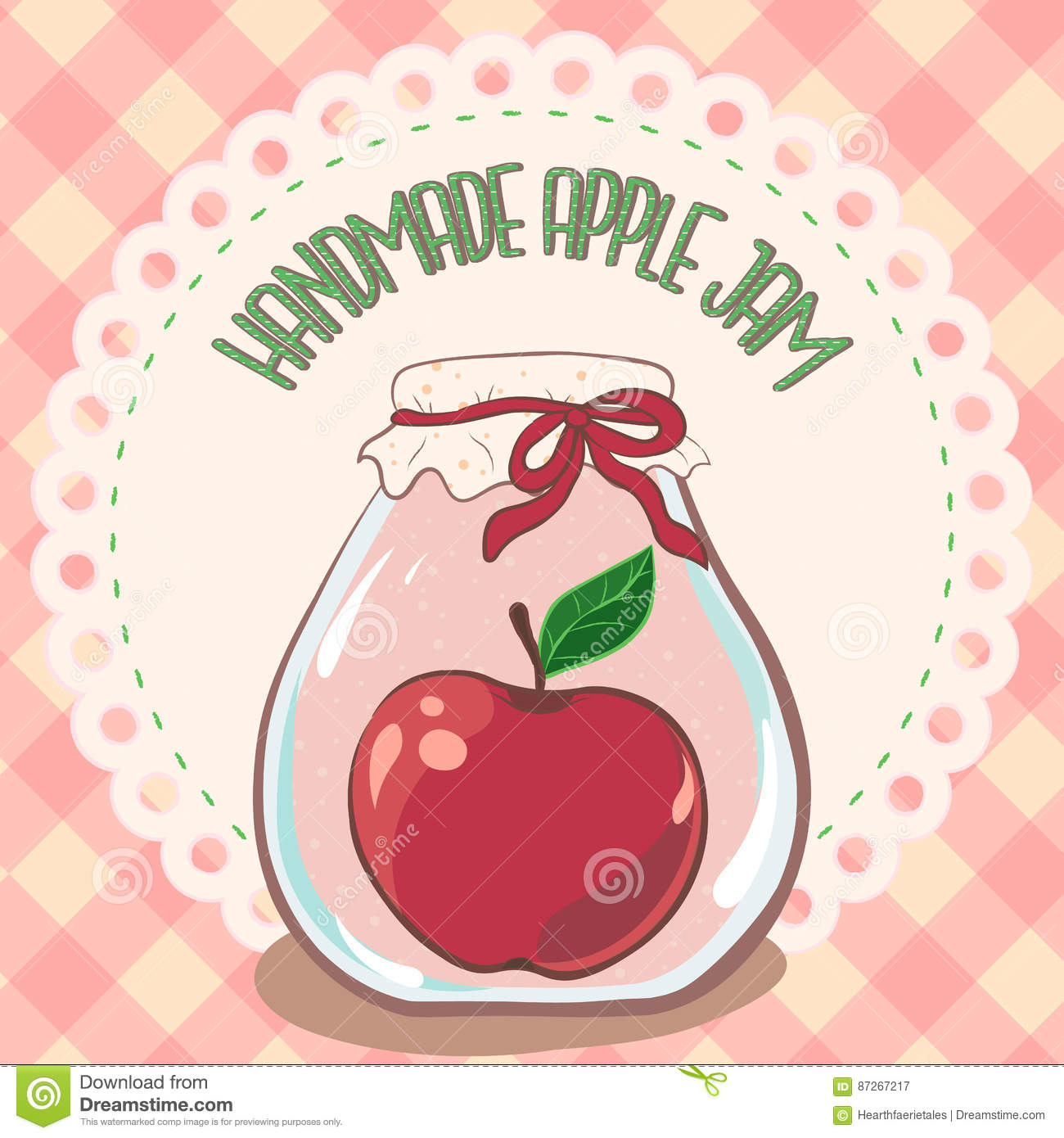 Cute Bakery Wallpaper Handmade Red Apple Jam Jar On Lace Doily Label And Gingham