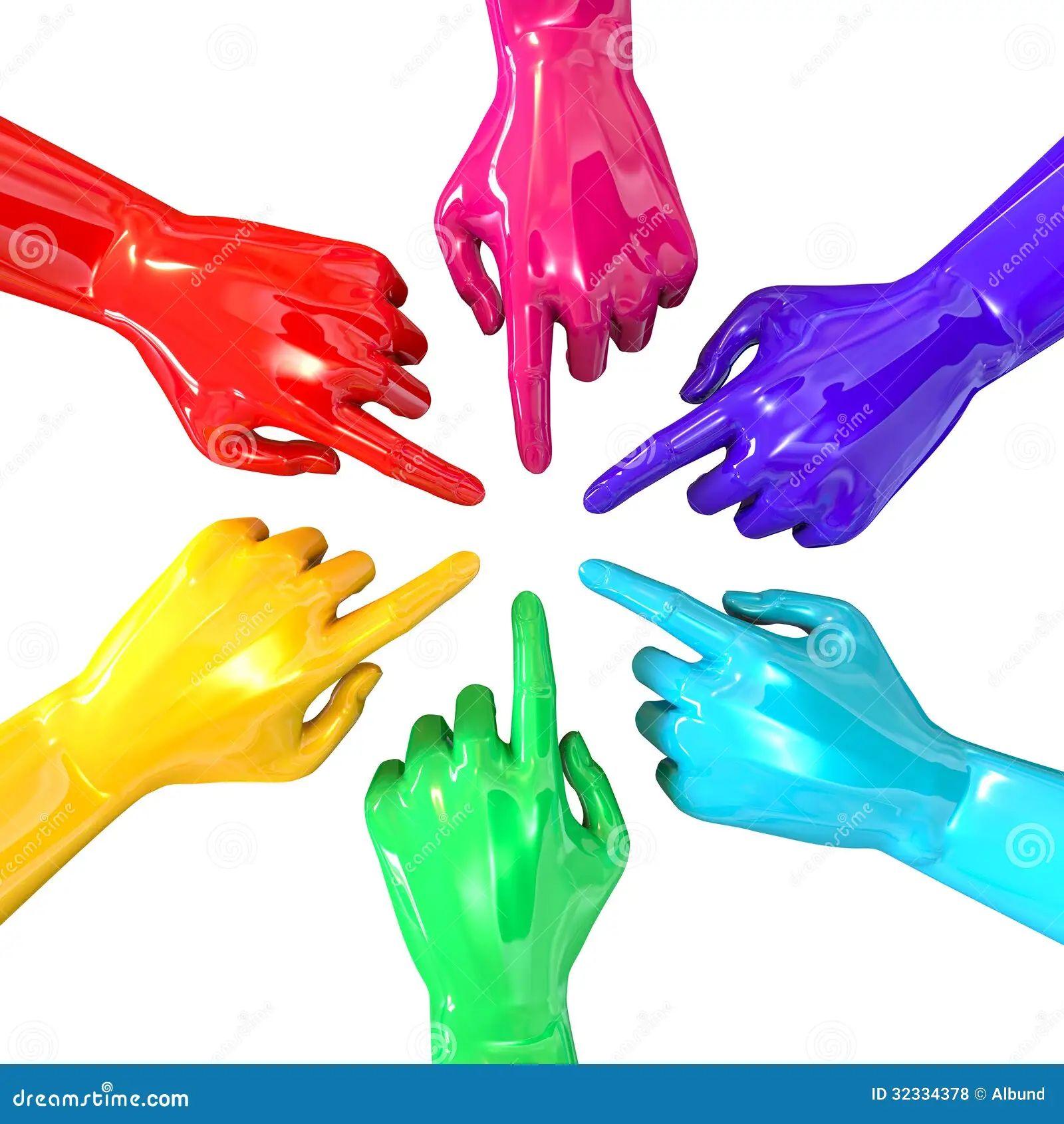Hands colorful circle pointing inward top royalty free