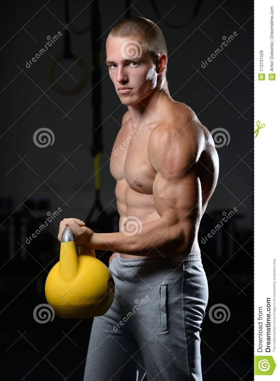 Kettlebell Bodybuilding Handsome Young Man Working Out In Gym Kettlebell Stock Image