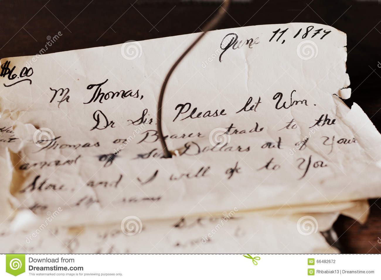 Letter In Cursive Handwritten Letter Stock Photo Image Of Displayed Ancient 66482672