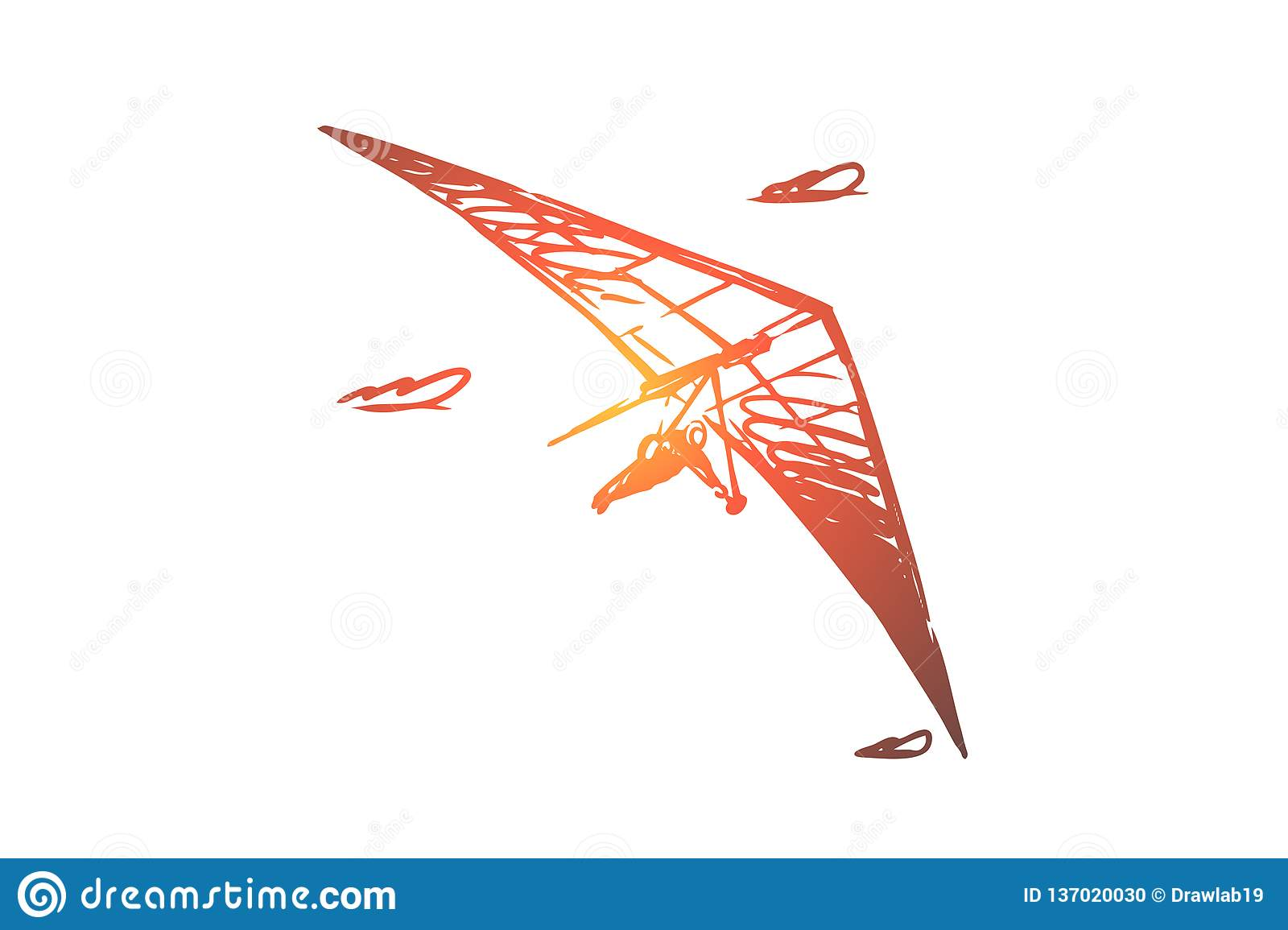 Sport Flying Hang Glider Extreme Sky Sport Fly Concept Hand Drawn Isolated