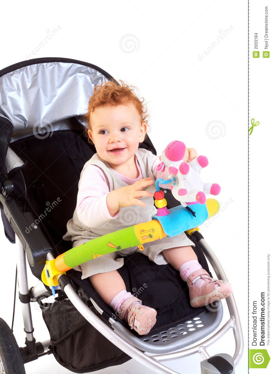 Newborn Stroller Happy Baby In Stroller Stock Photo Image Of Laughing