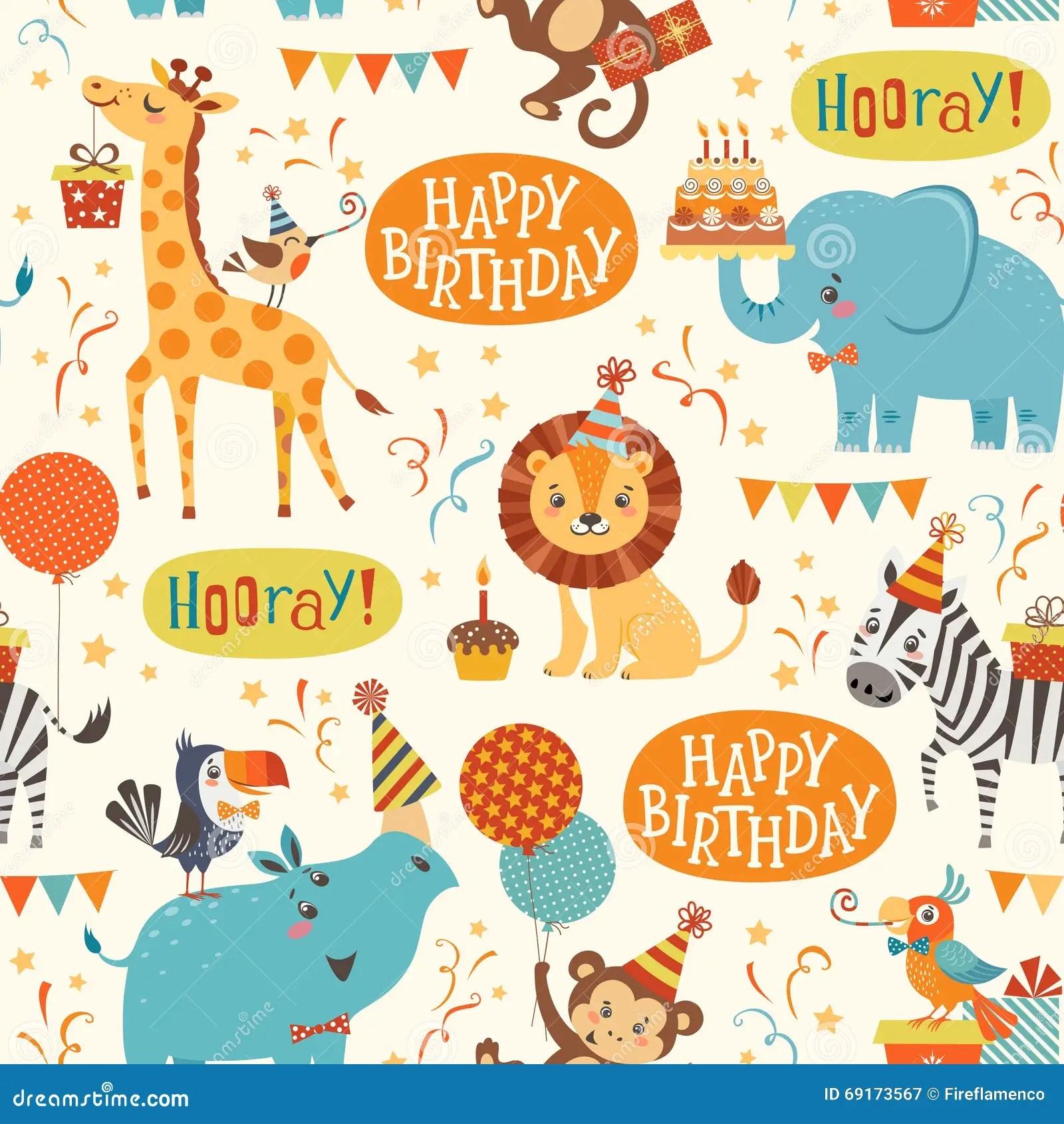 Happy Birthday Animated Wallpaper Happy Birthday Animals Pattern Stock Vector Illustration