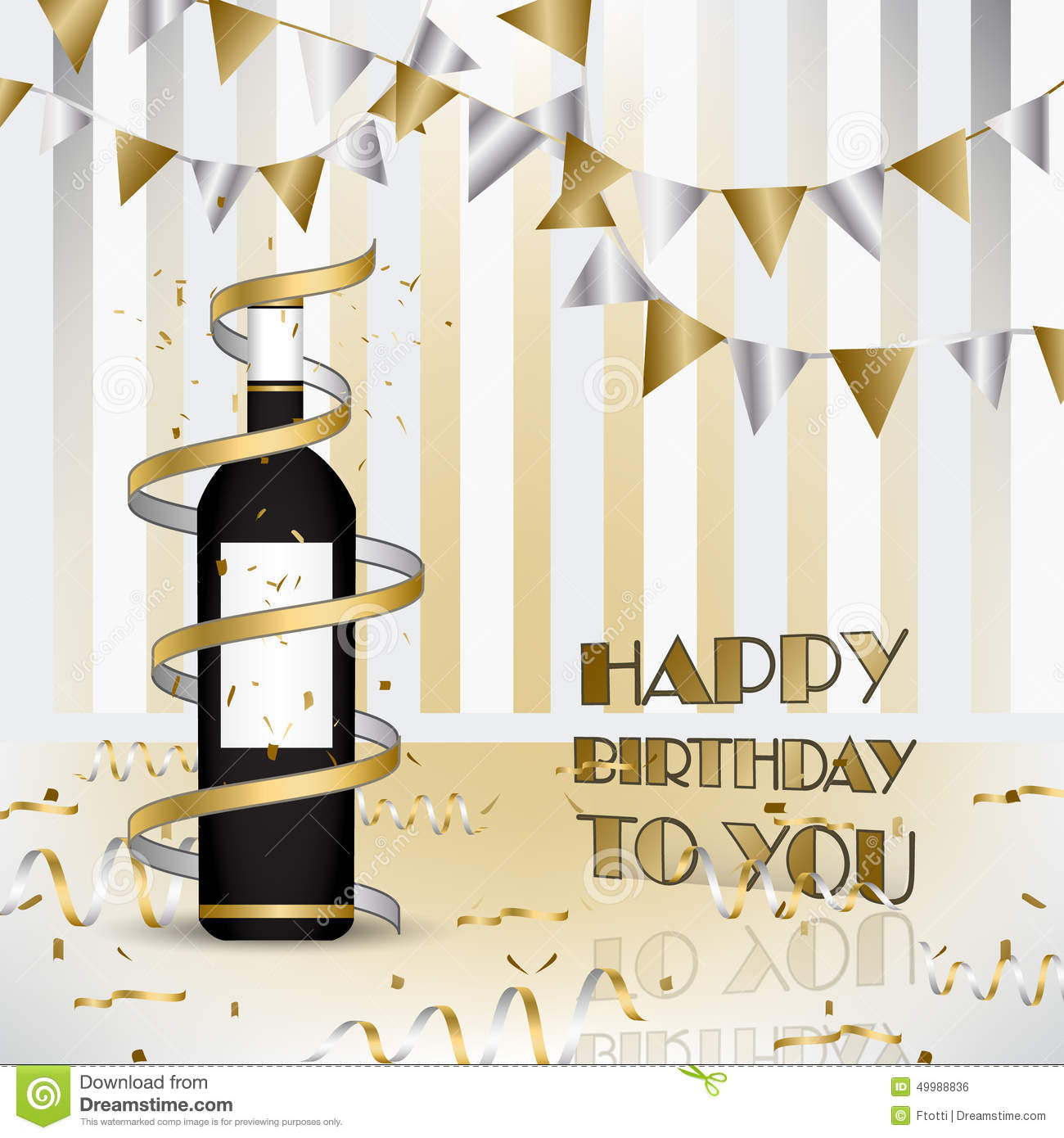 Carte Cadeau Wish Happy Birthday Background With Bottle Of Wine And Ribbons