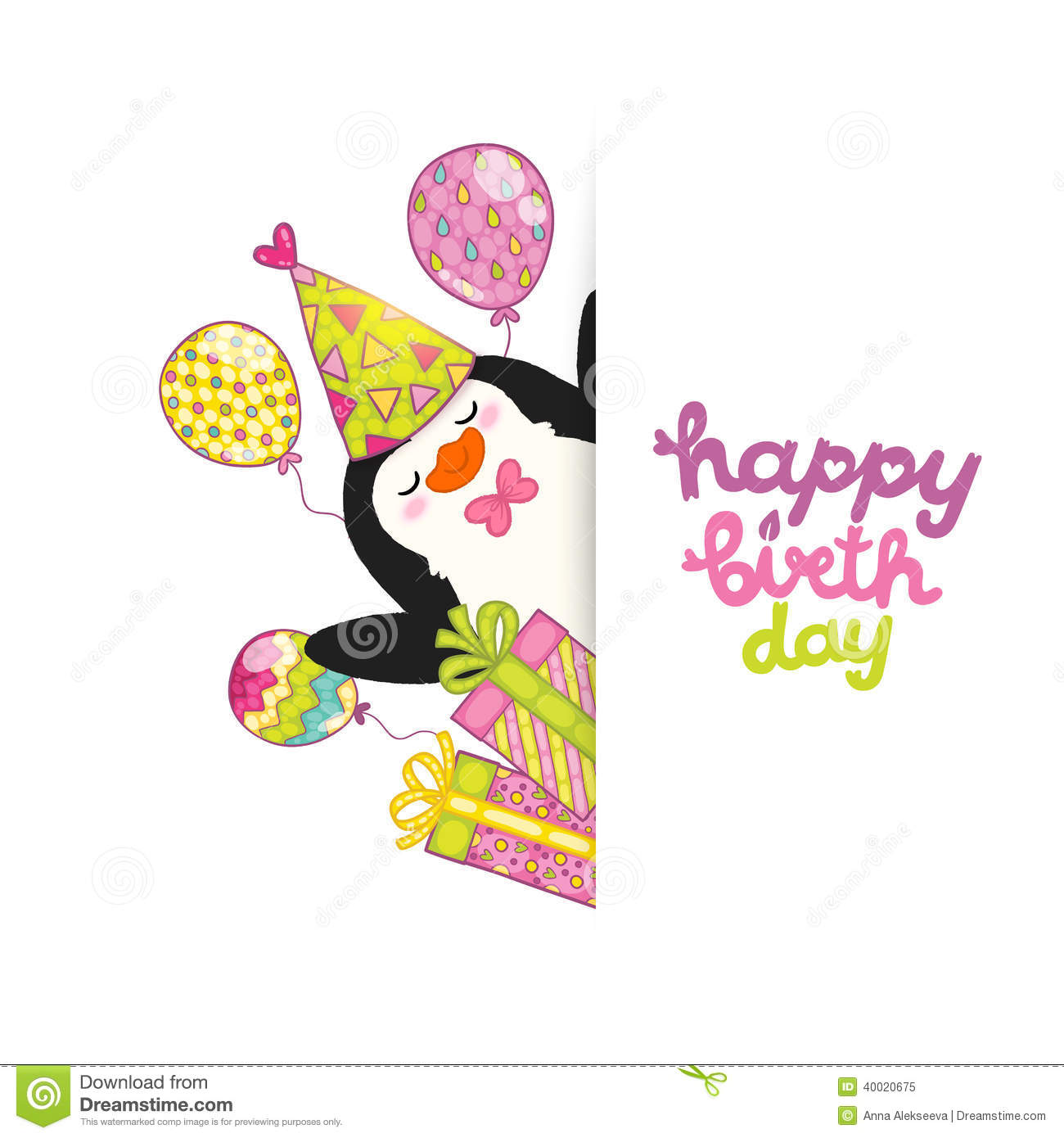 Cute Penguin Wallpaper Cartoon Happy Birthday Card Background With Cute Penguin Stock