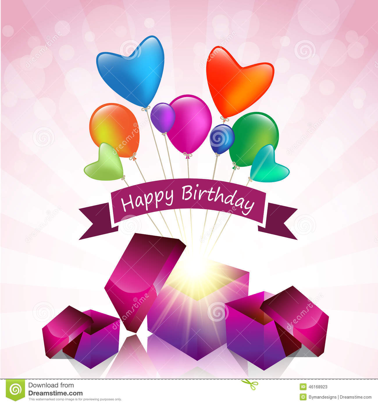 Carte Cadeau Wish Happy Birthday Card With Magic Gift Box And Colored