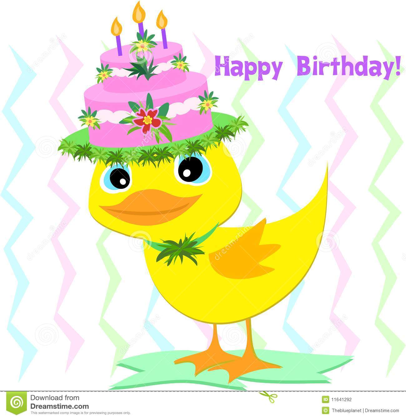 Birthday Candle Hat Happy Birthday Hat On A Duck Stock Vector - Illustration