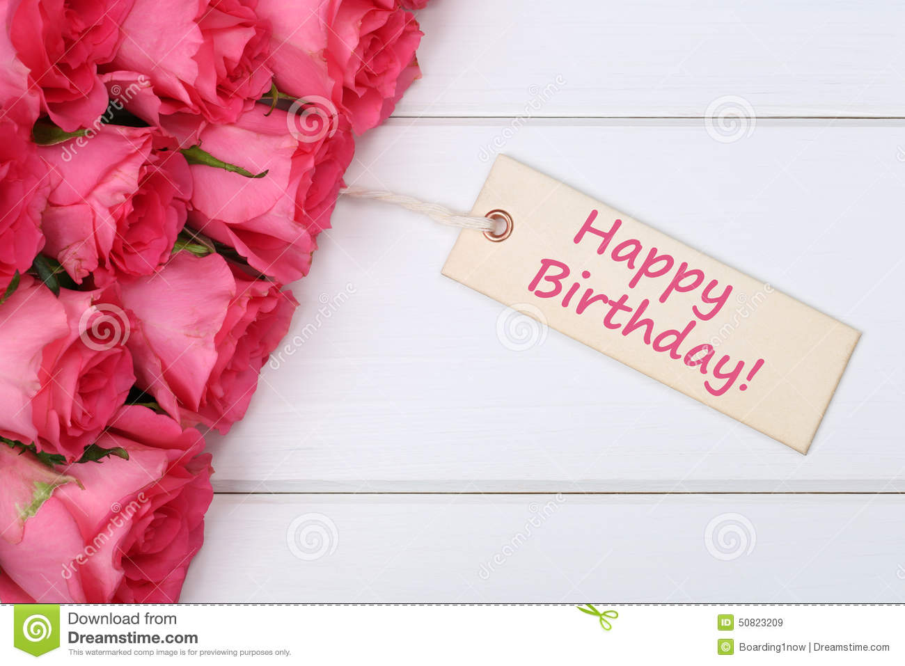 Carte Cadeau Wish Happy Birthday With Roses Flowers With Greeting Card On A