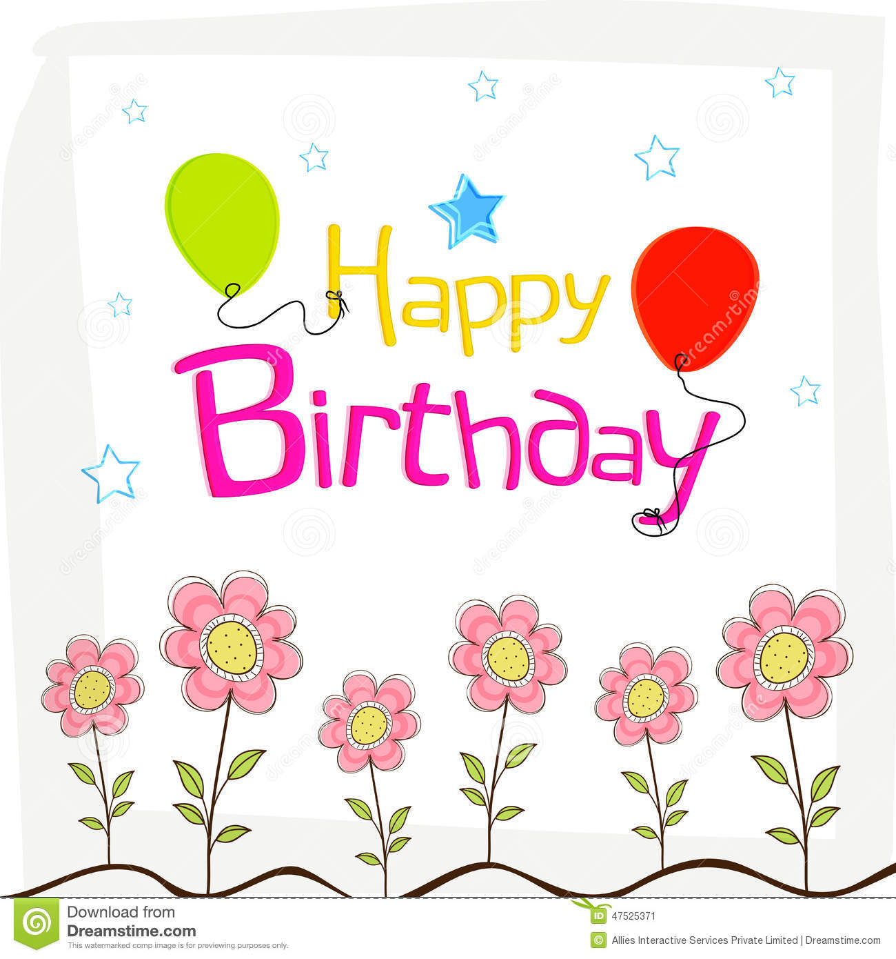 Carte Cadeau Wish Happy Birthday Wishes Poster Design With Decoration Stock