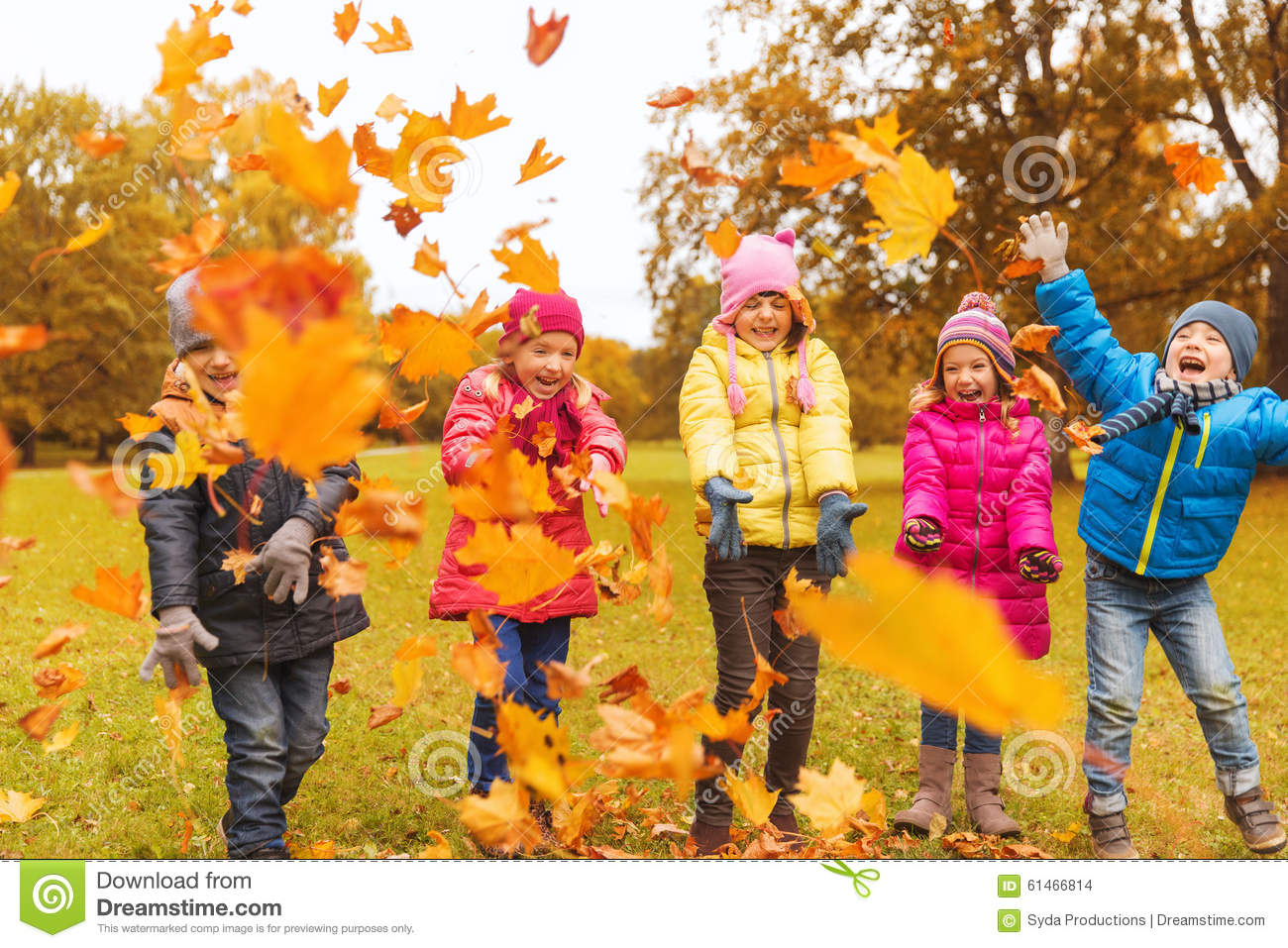 Fall Walk Wallpaper Happy Children Playing With Autumn Leaves In Park Stock