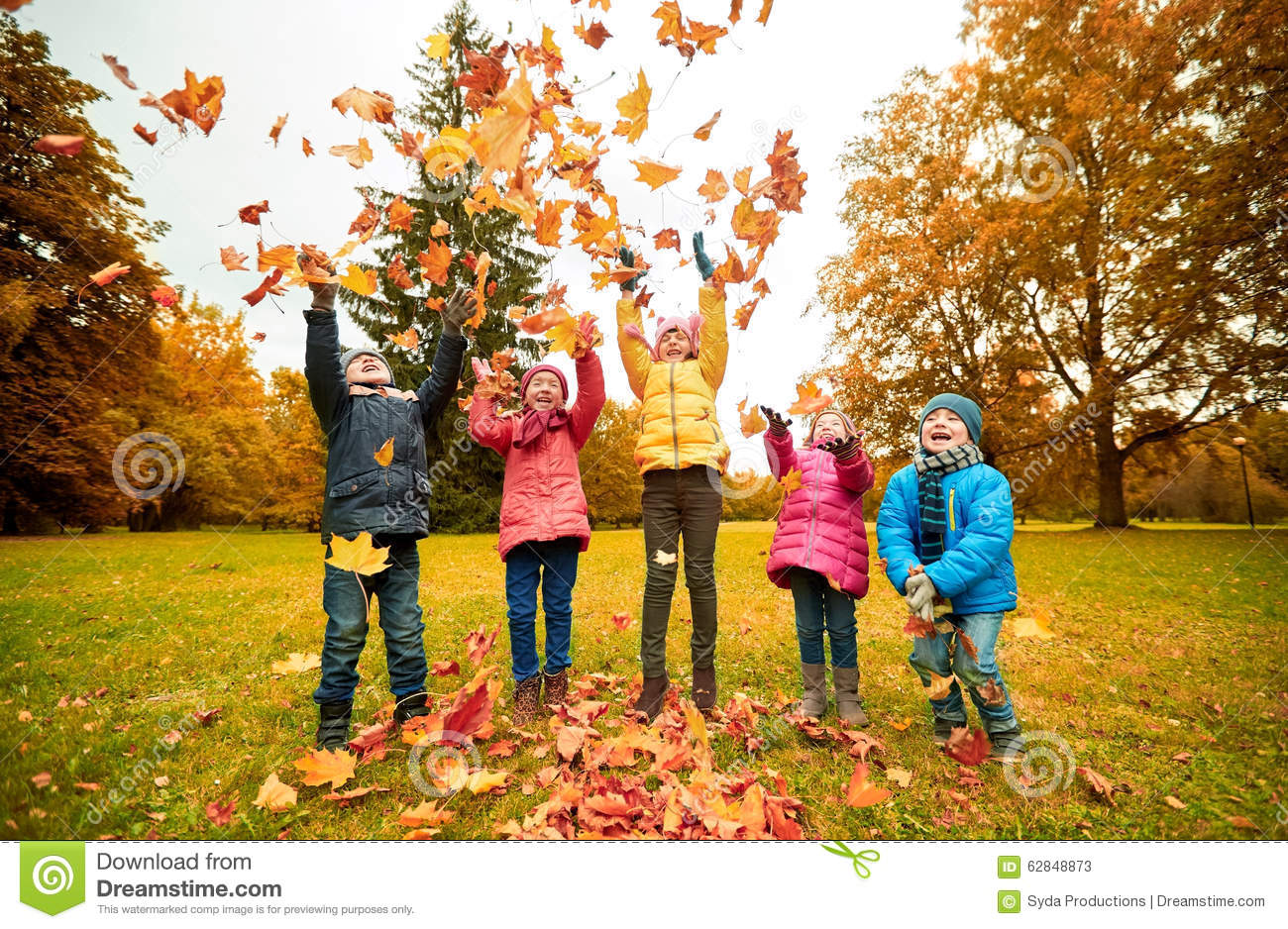 Falling Cherry Blossom Wallpaper Hd Happy Children Playing With Autumn Leaves In Park Stock