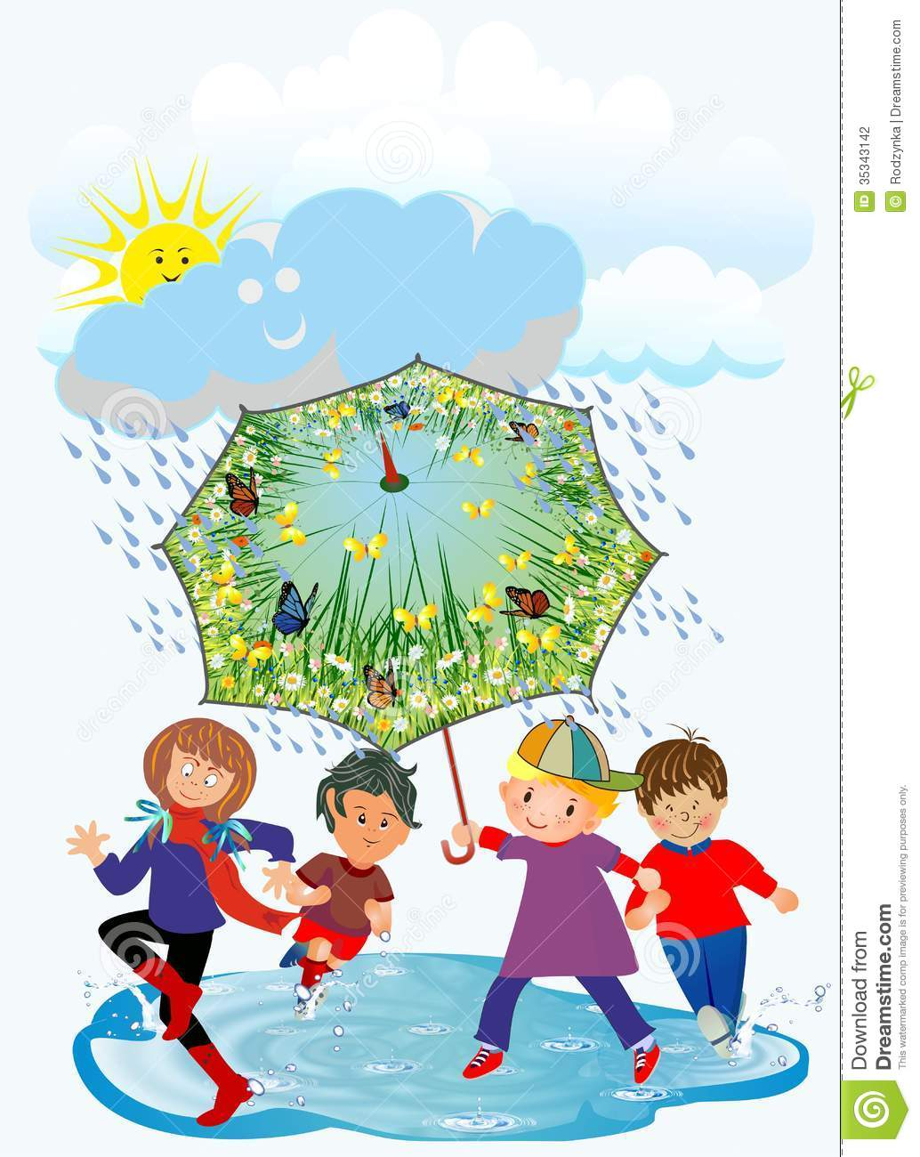 Cute Boy And Girl Friendship Wallpapers Happy Children And Rain Stock Photo Image Of Cheerful