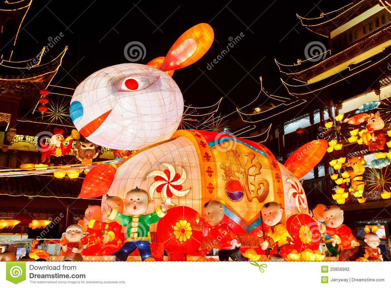 Happy Chinese Lantern Festival Happy Chinese New Year Huge Rabbit Lantern Stock