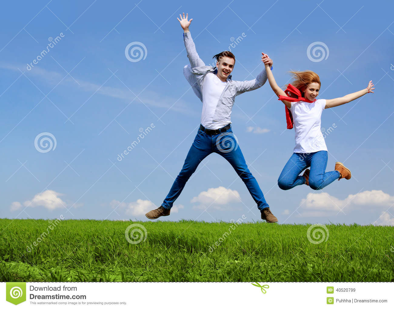 All God 3d Wallpaper Happy Couple Jumping Freedom Concept Free Jumping
