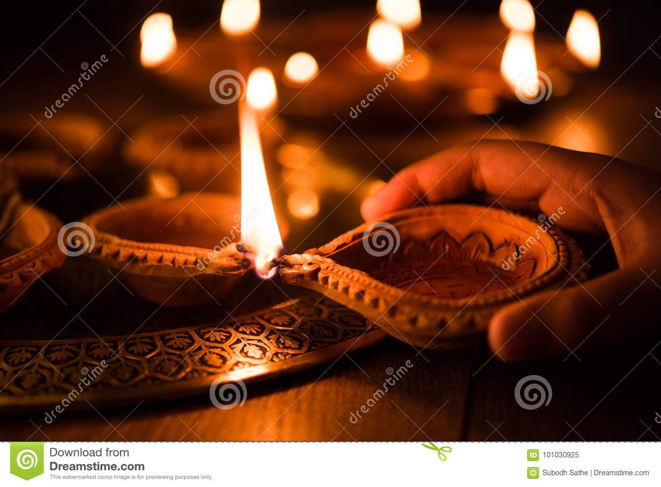 Earthen Lamp Diwali Happy Diwali Hand Holding Or Lighting Or Arranging