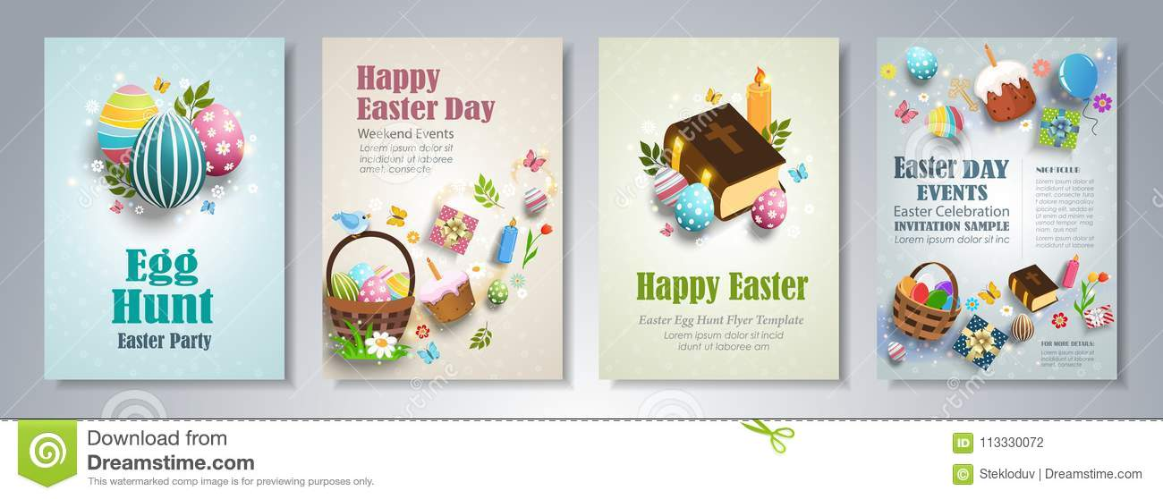 Happy Easter Flyer Template Stock Vector - Illustration of label