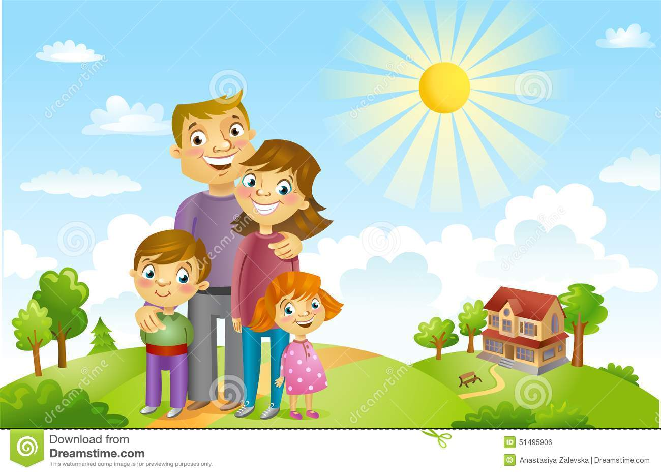 Happy Family Life Clip Art Cartoon Happy Family Against A Landscape And The House