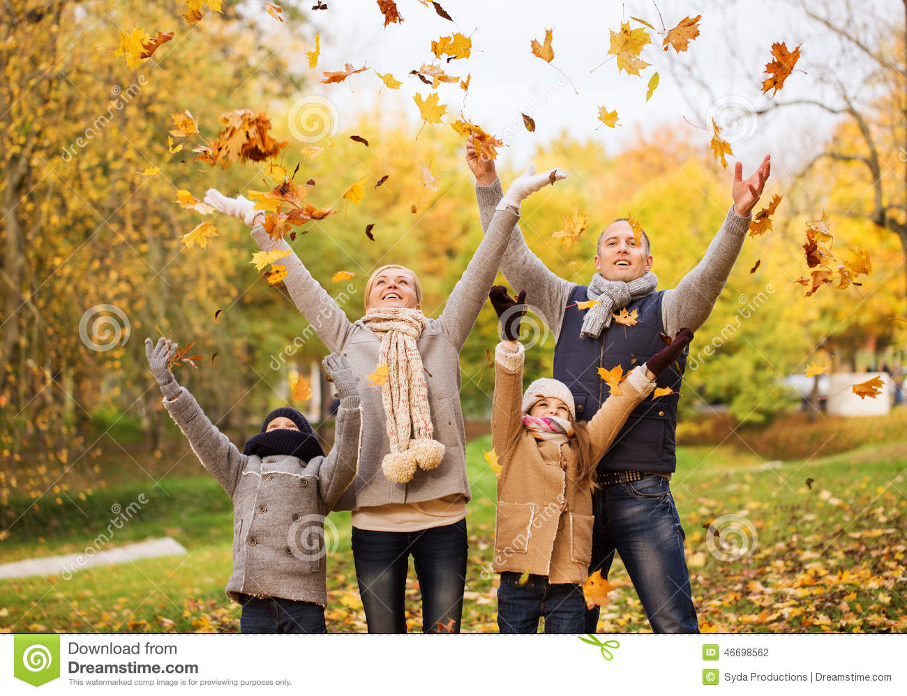 India Wallpaper 3d Happy Family Playing With Autumn Leaves In Park Stock