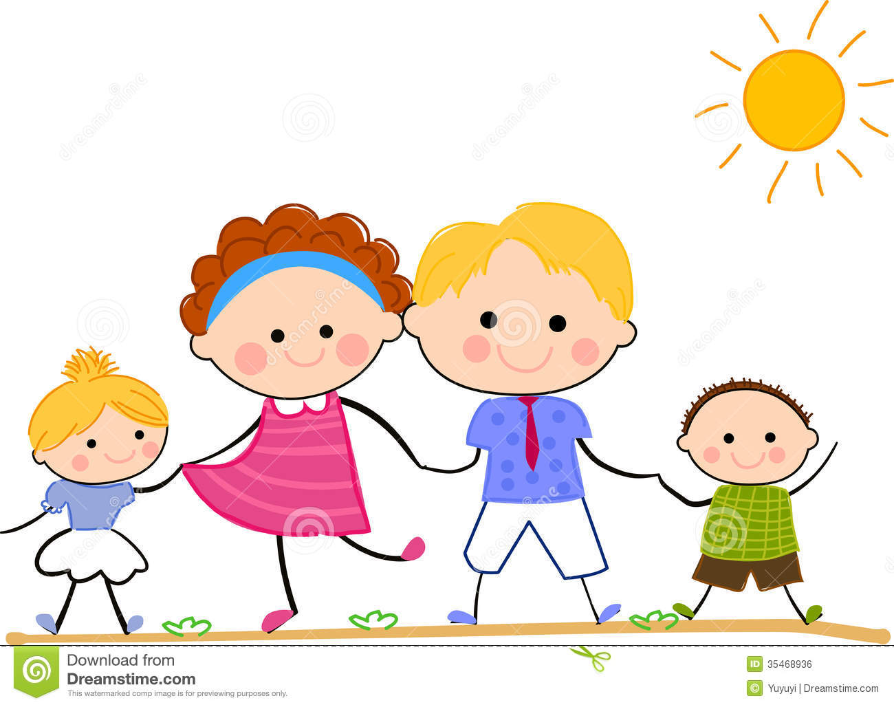 Happy Family Life Clip Art Happy Family Standing Together Stock Vector Illustration