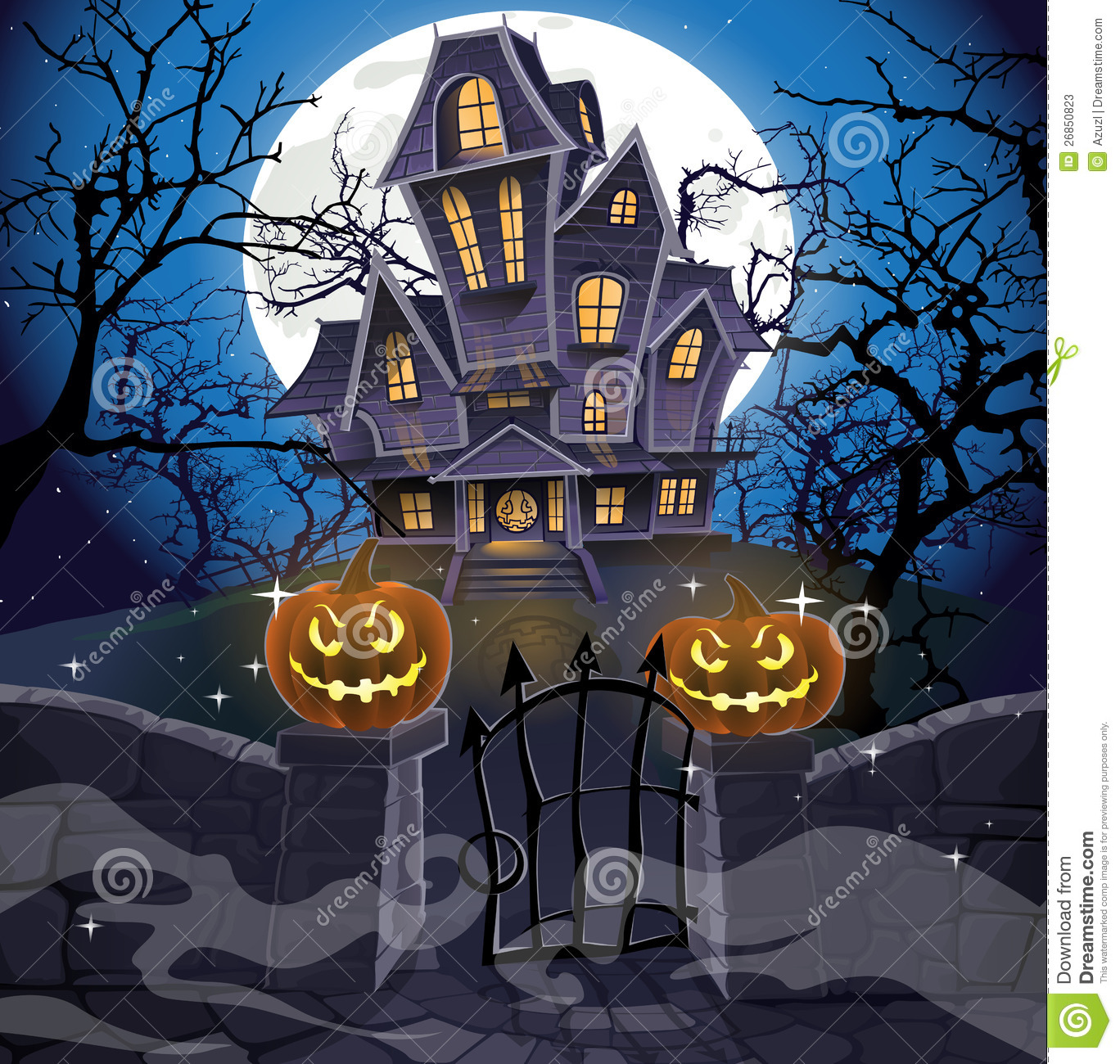 Fall Scenes Wallpaper With Pumpkins Happy Halloween Cozy Haunted House Stock Photos Image