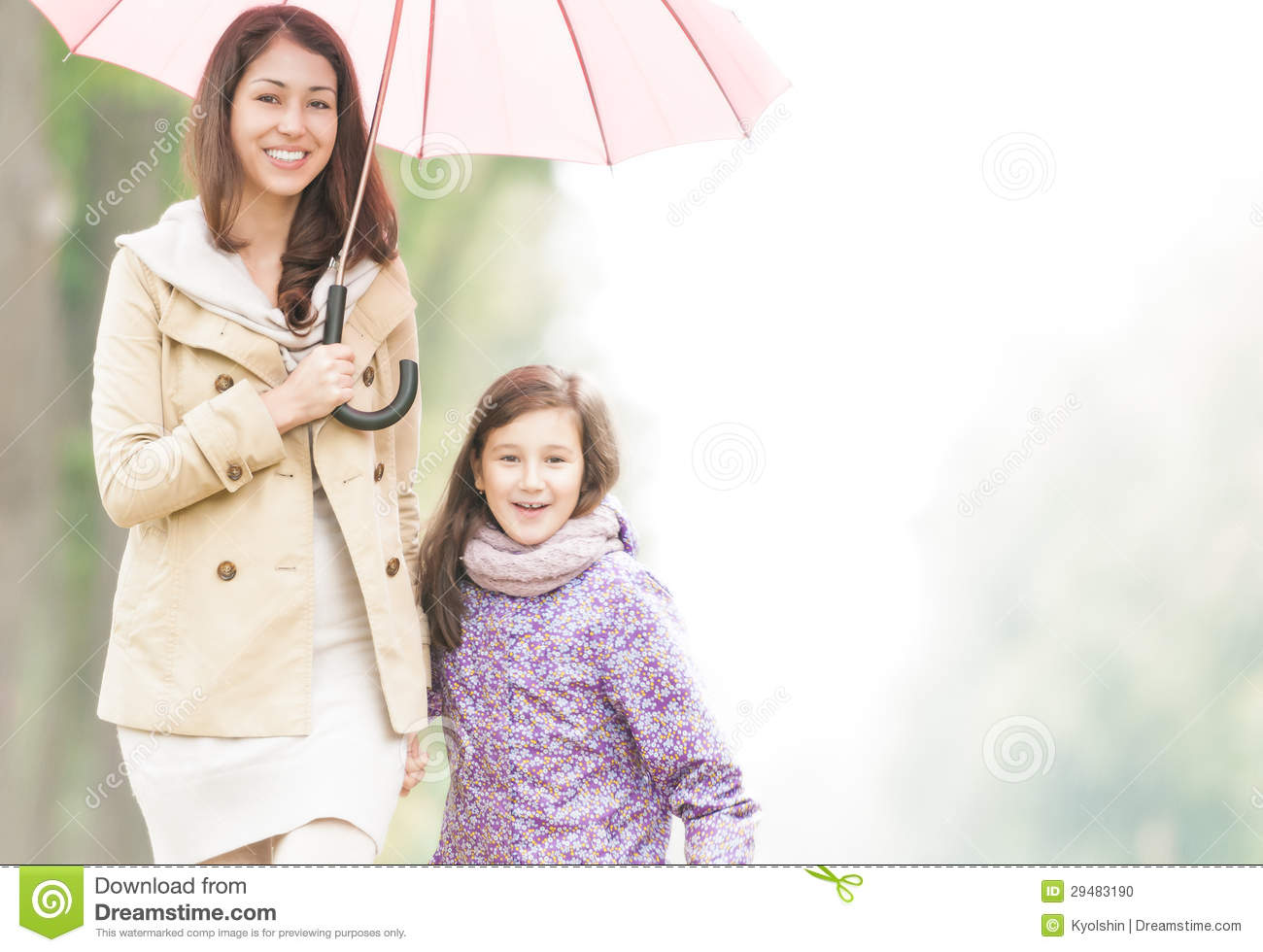 Little Girl Wallpaper Free Download Happy Mother And Daughter Walking In Park Stock Photo