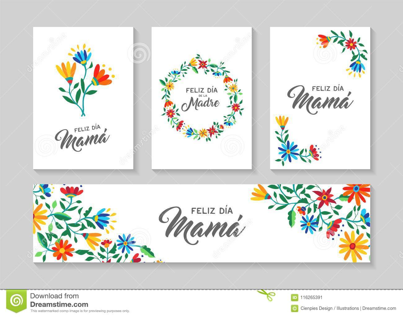 La Arte In Spanish Happy Mother Day Spanish Flower Art Card Set Stock Vector