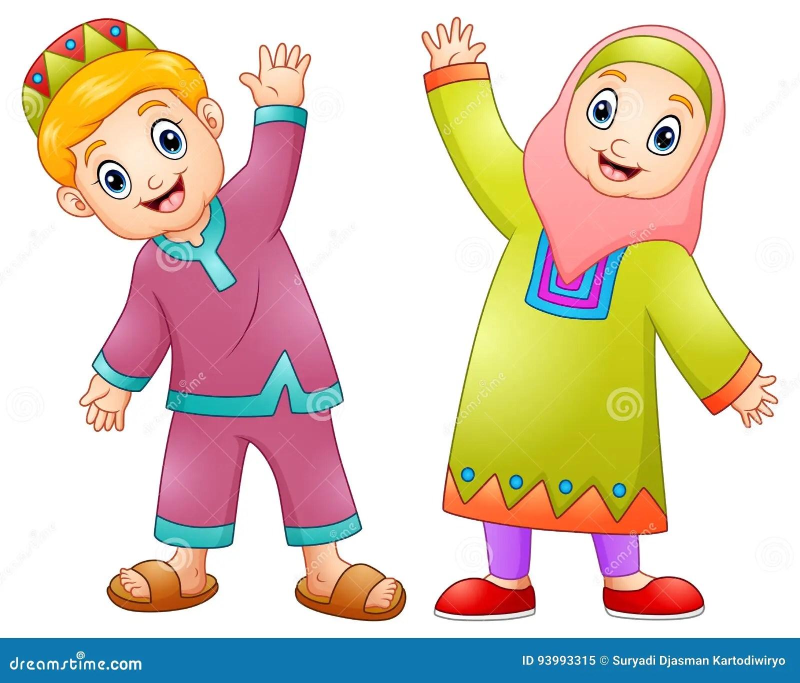 Wallpaper Cartoon Islamic Girl Happy Muslim Kids Cartoon For Celebrate Eid Mubarak Stock