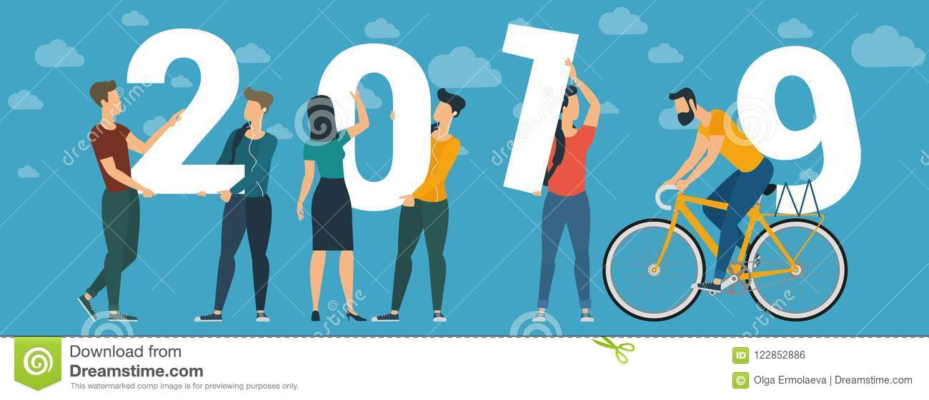 2019 Happy New Year Vector Concept Stock Vector - Illustration of