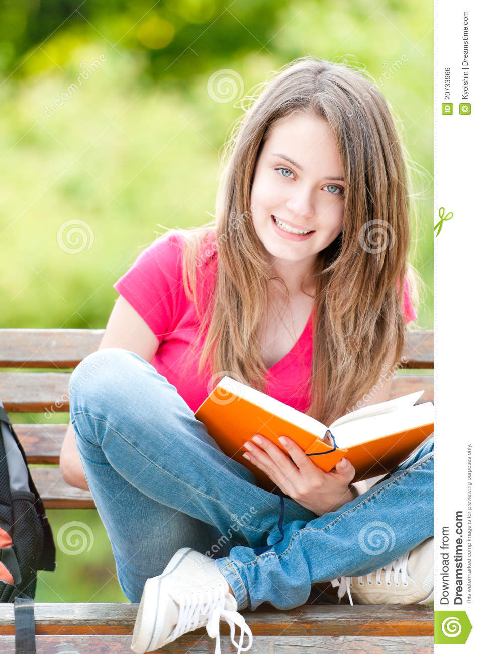 Smart Girl Wallpaper Free Download Happy Student Girl Sitting On Bench With Book Royalty Free