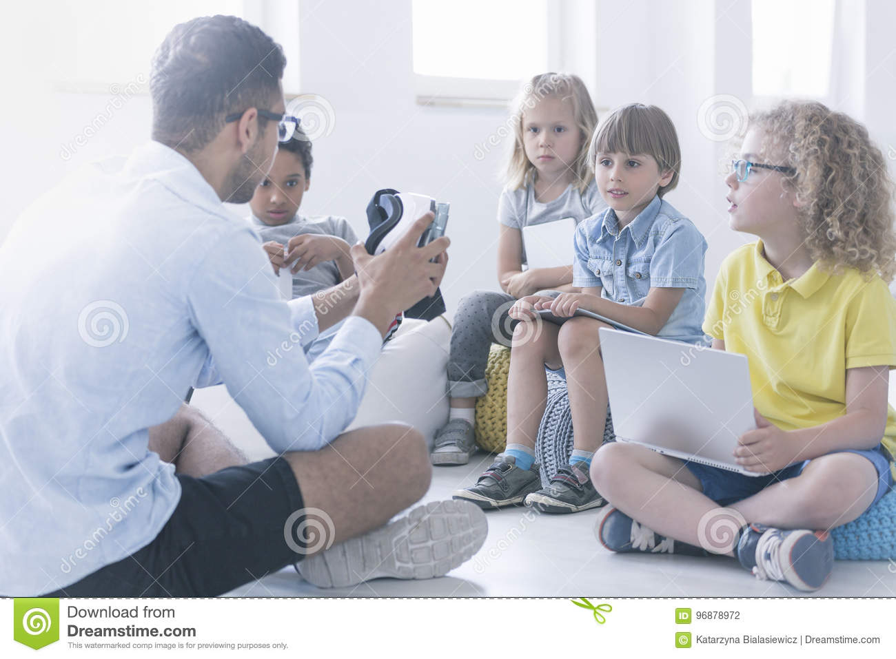 Children Robot Happy Teacher Shows Children The Robot Stock Photo Image Of