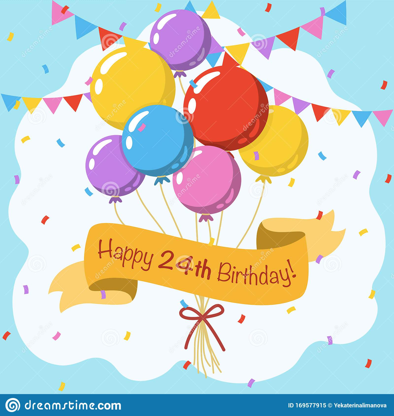 Happy 24th Birthday Colorful Vector Illustration Greeting Card Stock Vector Illustration Of Bright Decorative 169577915