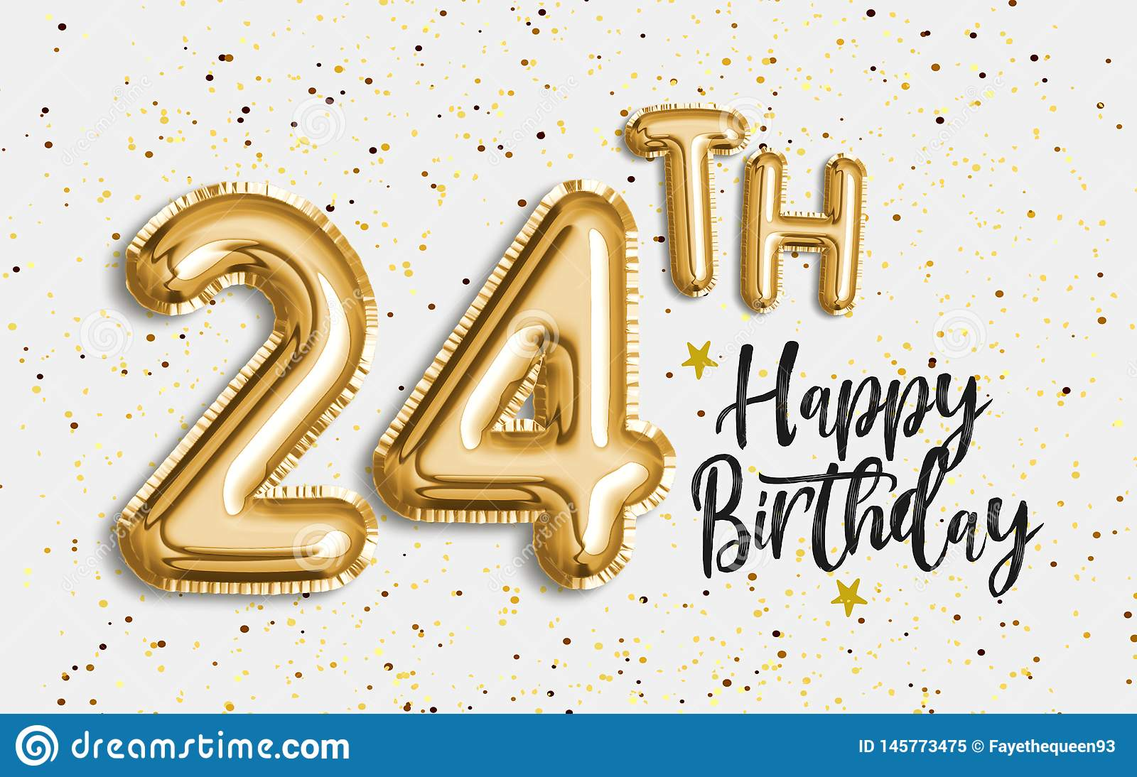 Happy 24th Birthday Gold Foil Balloon Greeting Background Stock Illustration Illustration Of Celebrating Template 145773475