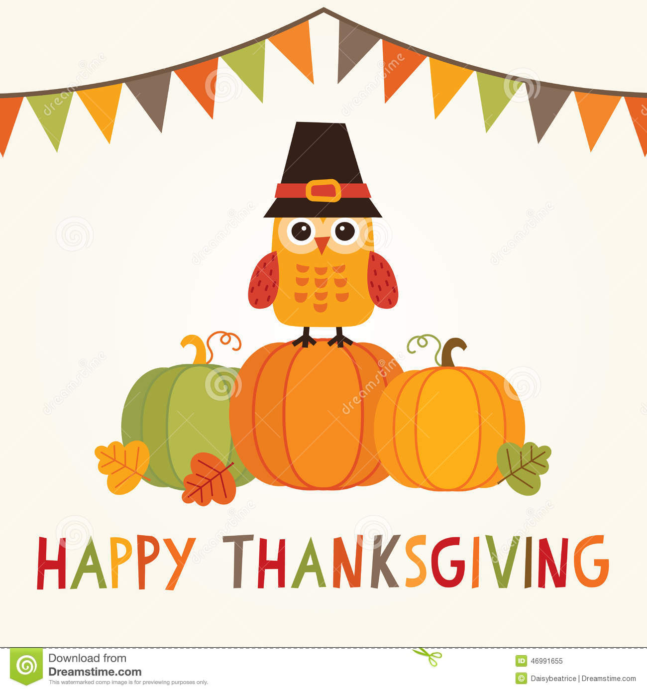 Fall Wallpaper With Owls Happy Thanksgiving Card With Owl In Pilgrim Hat On