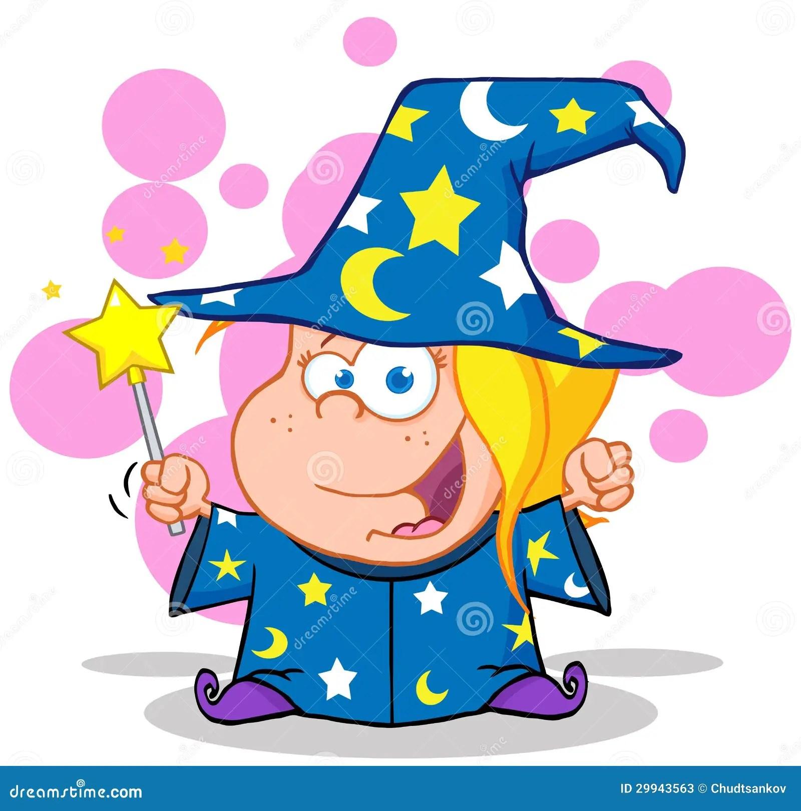 Happy Wizard Girl Waving With Magic Wand Stock Photos