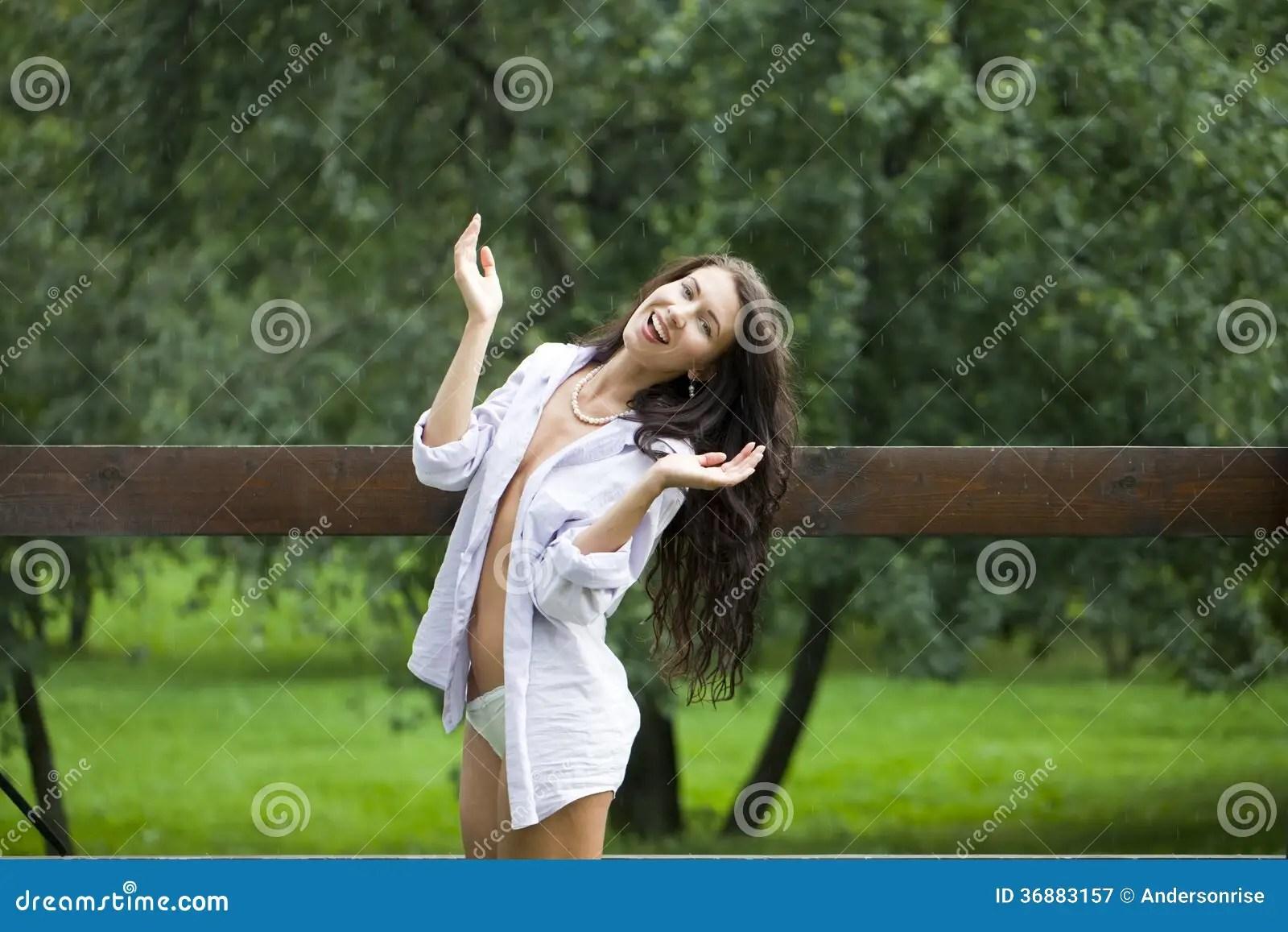 Attitude Girl Wallpaper Hd Download Happy Woman Walking In The Rain Stock Image Image 36883157