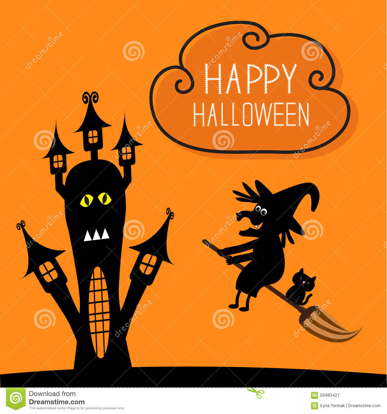Free Fall Cat Wallpaper Haunted House Happy Halloween Witch And Black Cat Stock