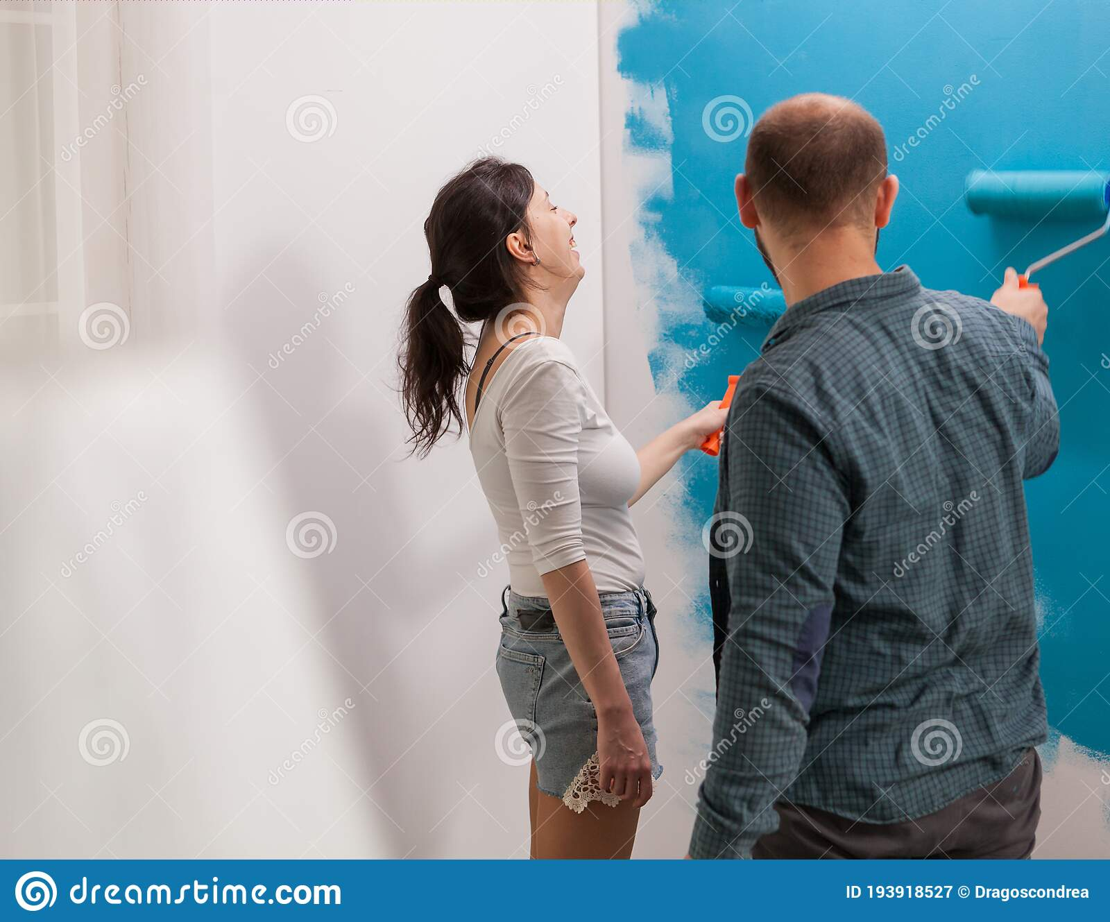 Having Fun Painting The Wall Stock Image Image Of Girl Lifestyle 193918527