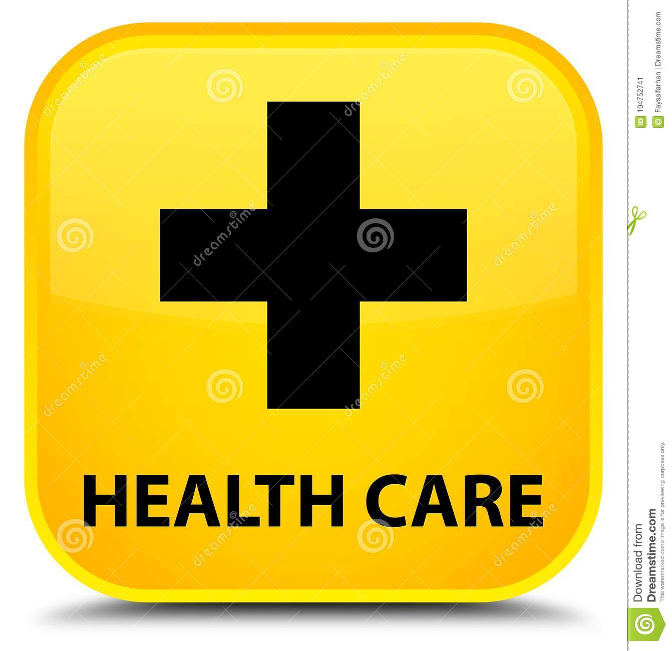 Email Icon Isolated On Special Yellow Square Button Abstract Health Care Plus Sign Special Yellow Square Button Stock
