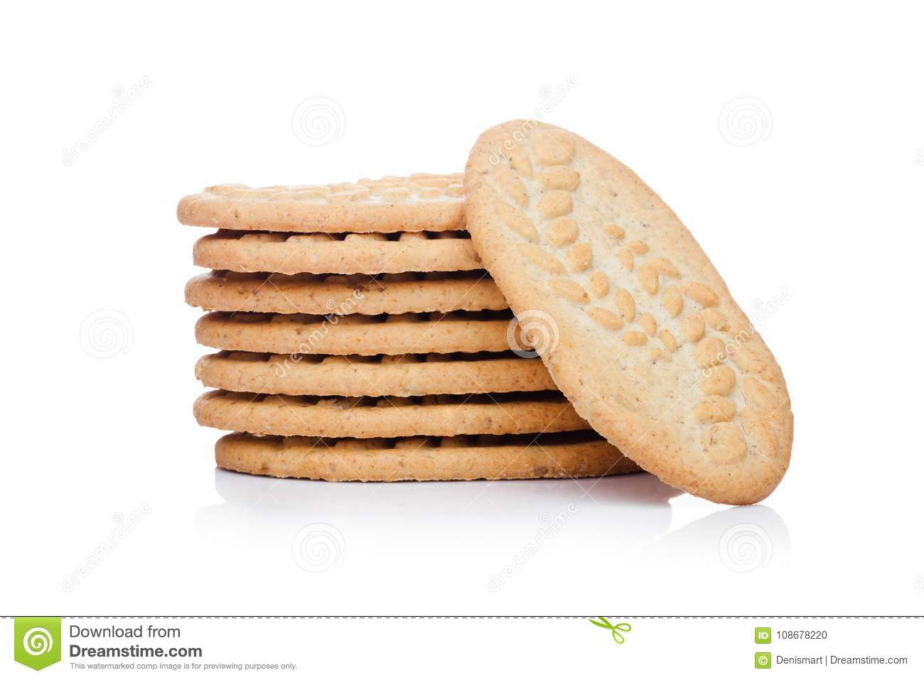 Grain Bio Healthy Bio Breakfast Grain Biscuits On White Stock Photo Image