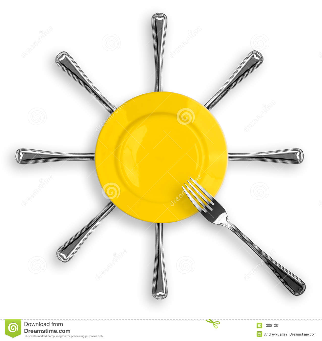 Plate With Food Top View Healthy Food Concept With Plate And Fork Top View Stock