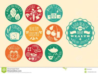 Healthy Lifestyle Icons Set Stock Vector - Illustration of ...