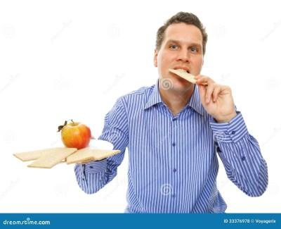 Healthy Lifestyle Man Eating Crispbread And Apple Royalty ...