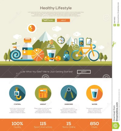 Healthy Lifestyle Website Template With Header And Icons ...