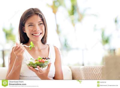 Healthy Lifestyle Woman Eating Salad Smiling Happy Stock ...