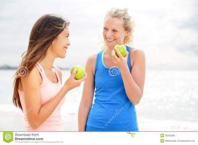 Healthy Lifestyle Women Eating Apple After Running Stock ...