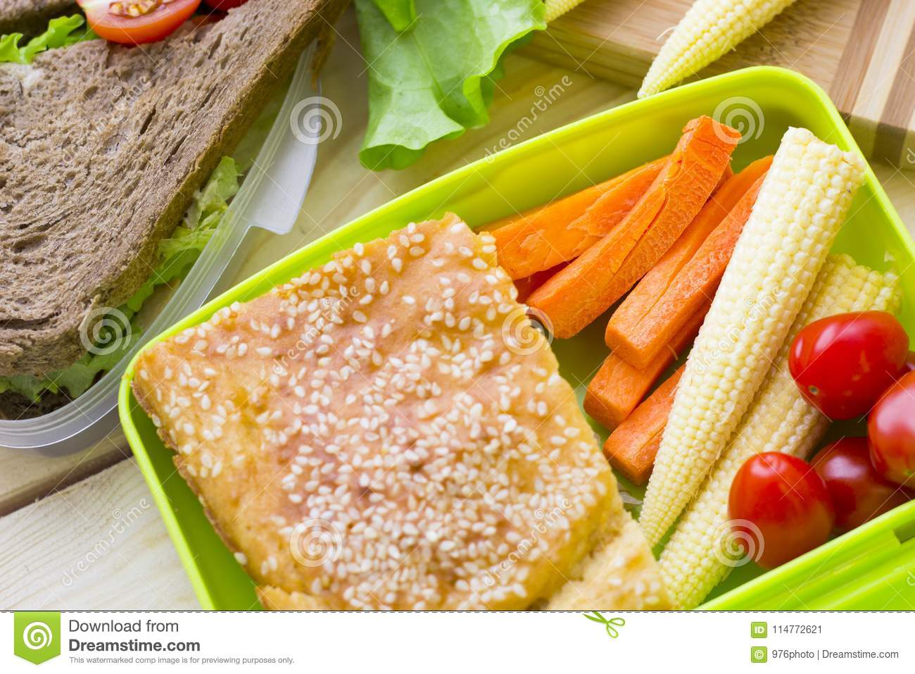 Lunch In A Box Healthy Lunch In A Box Stock Image Image Of Cuisine 114772621