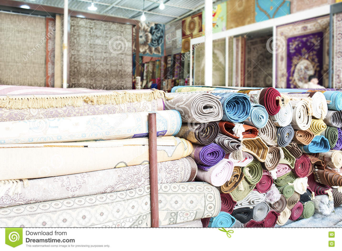 Heap Of Rolled Up Rugs In Rug Store Stock Photo Image